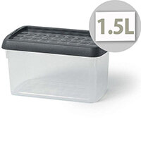 5 Star Elite 1.5 Litre Storage Clip Box Clear Plastic Stackable with Lid