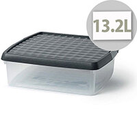 5 Star Elite 13.2 Litre Plastic Storage Clip Box Clear with Black Lid