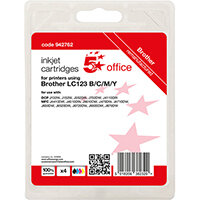 5 Star Office Remanufactured Inkjet Cartridge Page Life Blk 600pp C/M/Y 600pp [Brother LC123VALBP Alternative] Pack of 4