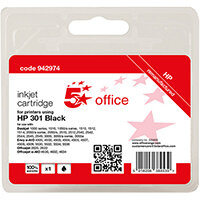 5 Star Office Remanufactured Inkjet Cartridge Page Life Black 190pp [HP No.301 CH561EE Alternative]