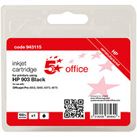 5 Star Office Remanufactured Inkjet Cartridge Page Life Black 300pp [HP No.903 T6L99AE Alternative]