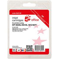 5 Star Office Remanufactured Inkjet Cartridge PageLife Blk 2300pp C/M/Y 1500pp [HP No.950XL/951XL C2P43AE Alternative]