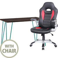 Home Office Bundle - Owen Retro Home Office Desk Espresso with Teal Frame & Talladega Alphason Office Chair Red & Black