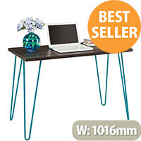 Owen Retro Home Office Desk - Espresso with Teal Frame