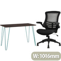 Owen Retro Home Office Desk - Espresso with Teal Frame & Executive High Back Mesh OP Office Chair - Stylish Design & Great Comfort