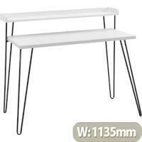 Haven Retro Home Office Desk with Riser – White