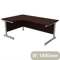 Office Desk Radial Left Hand Silver Legs W1800xD1200xH725mm Dark Walnut Ashford