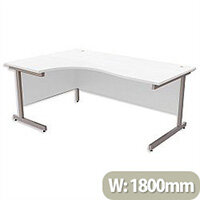 Office Desk Radial Left Hand Silver Legs W1800xD1200xH725mm White Ashford