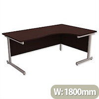 Office Desk Radial Right Hand Silver Legs W1800xD1200xH725mm Dark Walnut Ashford