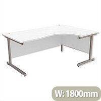 Office Desk Radial Right Hand Silver Legs W1800xD1200xH725mm White Ashford