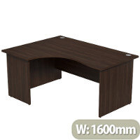 Radial Office Desk Panelled Left Hand W1600xD1200xH725mm Dark Walnut Ashford
