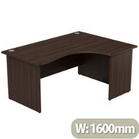 Radial Office Desk Panelled Right Hand W1600xD1200xH725mm Dark Walnut Ashford