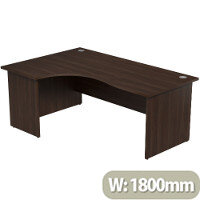 Radial Office Desk Panelled Left Hand W1800xD1200xH725mm Dark Walnut Ashford