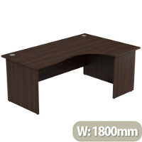 Radial Office Desk Panelled Right Hand W1800xD1200xH725mm Dark Walnut Ashford