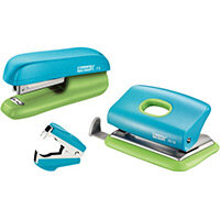 Rapid Mini Stapler F5 & Hole Punch Set Blister Pack Blue & Green