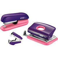 Rapid Mini Stapler F5 & Hole Punch Set Purple & Apricot