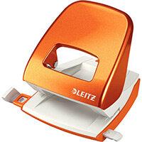 Leitz New NeXXt WOW Metal Office Hole Punch Blister Pk 3mm Metallic Orange