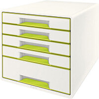 Leitz WOW Desk Cube 5 - 4 Small & 1 Large Drawer Cabinet Green