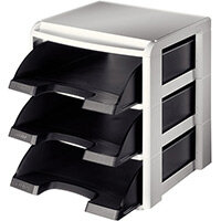 Leitz Plus Letter Tray Rack Grey & Black