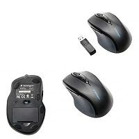 Kensington Full Sized Pro Fit Wireless Optical Right/Left Handed Mouse with Thumb Control Black K72370E