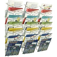 Alba Wall Mounted 7-Tier 21-Pocket Literature Holder A4 Chrome