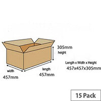 Double Wall Packing Cardboard Boxes 457x457x305mm (Pack of 15) Ref 59189
