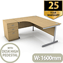 Ashford 1600mm Left Hand Radial Office Desk Metal Leg With FREE Desk High Pedestal BEECH
