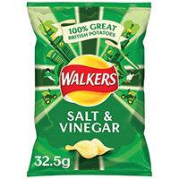 Walkers Salt and Vinegar Crisps 32.5g Pack of 32 121795