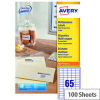 Avery 65 Per Sheet Multifunction Labels 38.1x21.2mm (6500 Labels)