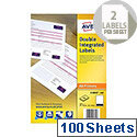 Avery Double Integrated Label White 85x54mm (100 Sheets)