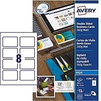Avery C32015-25 Business Cards 85 x 54mm Matt Inkjet 8 per Sheet 260gsm 200 Cards