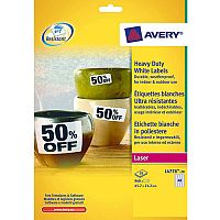 Avery Laser Label 45.7x21.2mm Heavy Duty 48 per Sheet Pack of 20 White L4778-20