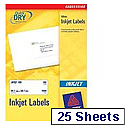 Avery QuickDRY Inkjet Labels 199.6x143.5mm 2 per Sheet [Pack of 25] J8168-25