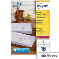 Avery LR7162-100 Recycled Laser Label White Address 99.1x33.9mm (1600 Labels)