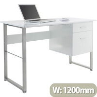 Alphason Cabrini Home Office Desk White with Silver Frame W1200xD600xH760mm
