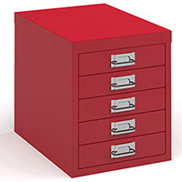 Bisley Multidrawer With 5 Drawers - Red