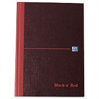 Black n Red A5 Single Cash Book B66853 Casebound 192 Pages Pack 5