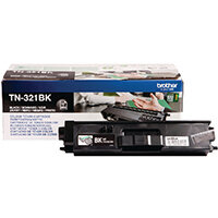 Brother TN-321BK Black Laser Toner Cartridge TN321BK - Prints 2,500 pages - High quality genuine Brother cartridge - Prevents waste to save you paper, time and money