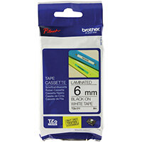 Brother P-Touch 6mm Black on White TZE211 Labelling Tape