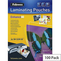 Fellowes A4 Self Adhesive Enhance Laminating Pouches 80 Micron Pack of 100