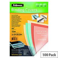 Fellowes Transpsarent Clear Plastic Covers 150 Micron Pack of 100