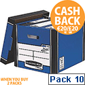 Fellowes Bankers Box Premium 726 Tall Archive Storage Box Blue and White Pack 10