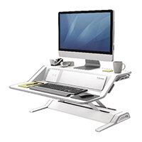Fellowes Lotus DX Height Adjustable Sit Stand Desktop Workstation with Built in Wireless Charging and USB Connectivity, White. Improve Posture, Decrease Back/Neck Pain & Reduce Risk Of Heart Disease & Cardiovascular Issues. Ref 8080201
