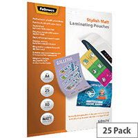 Fellowes Admire Stylish Matt A4 Laminating Pouches 160 Micron Pack of 25 5602101