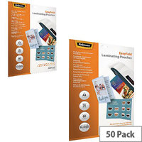 Fellowes Easyfold Laminating Pouch A4 2 Packs of 25 BUY 1 GET 1 FREE BB810539