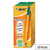 Bic Orange Ballpoint Pen Green Pack 20