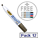 Bic Velleda Black Chisel Tip Whiteboard Marker Pack 12 With FOC Assorted W/Board Markers Pk 4