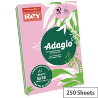 Adagio Assorted Pastel A4 Card Paper 160gsm Pack of 250