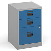 Bisley A4 Home Filer Steel Filing Cabinet With 3 Drawers - Grey With Blue Drawers