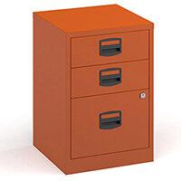 Bisley A4 Home Filer Steel Filing Cabinet With 3 Drawers - Orange